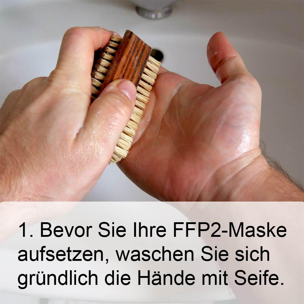 FFP2-Maske richtig aufsetzen Schritt1: Hände waschen