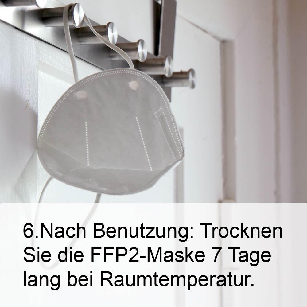 FFP2-Maske richtig aufsetzen Schritt 6: Lassen Sie Maske nach Benutzung für sieben Tage bei Zimmertemperatur trocken